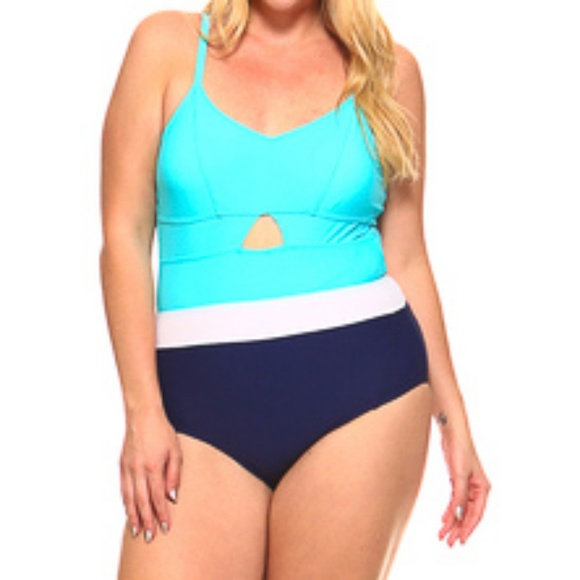 c5a416729a2 Biki USA Swim | Tricolor Cut Out One Piece Bathing Suit Xlxxxl ...
